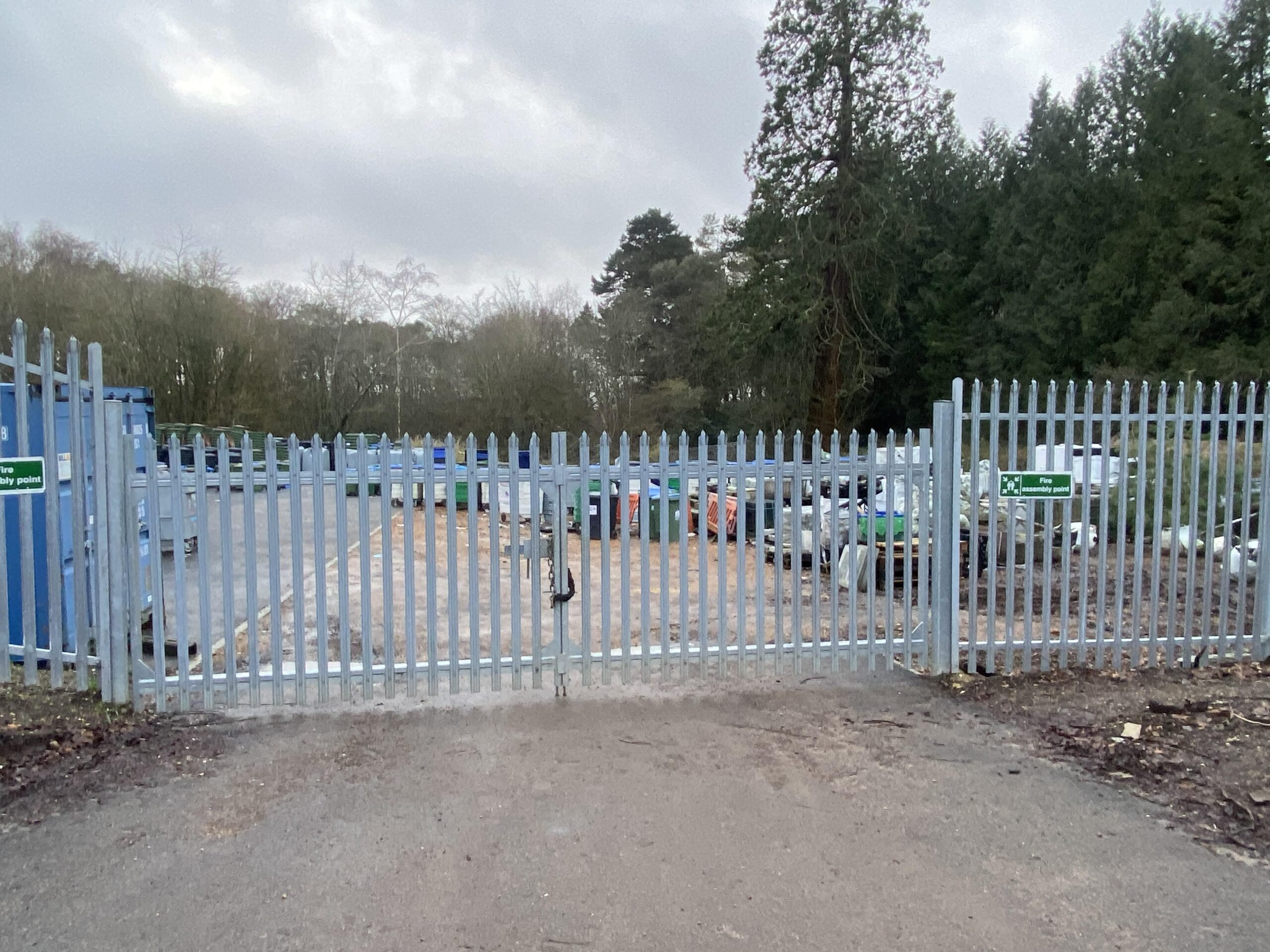 Metal palisade security fencing and gates